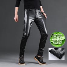 夏季薄款皮裤男士修身款pu皮裤单层摩托车皮裤男防水防油青年中年