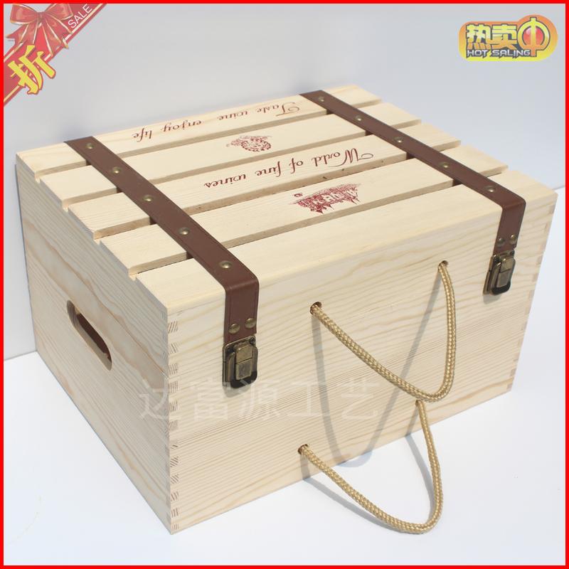 红酒盒六支装通用葡萄酒礼盒木箱子实木质红酒包装盒红酒木盒定制 Изображение 1