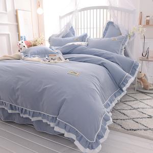 韩式简约纯色公主风床上四件套全棉纯棉荷叶边床单被套1.8m床品
