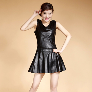 2012 winter new Haining leather leather female sheep skin round neck Slim leather skirt dress Cheap Sheng Naier