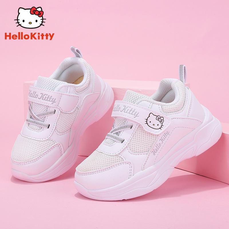 HelloKitty女童运动鞋2019秋季新款学生小白鞋网面儿童休闲童鞋潮