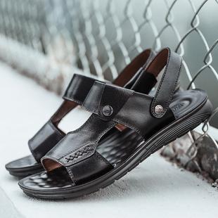 牛皮休闲沙滩鞋 真皮厚底防滑魔术贴中年凉拖鞋 凉鞋 新款 男2021夏季