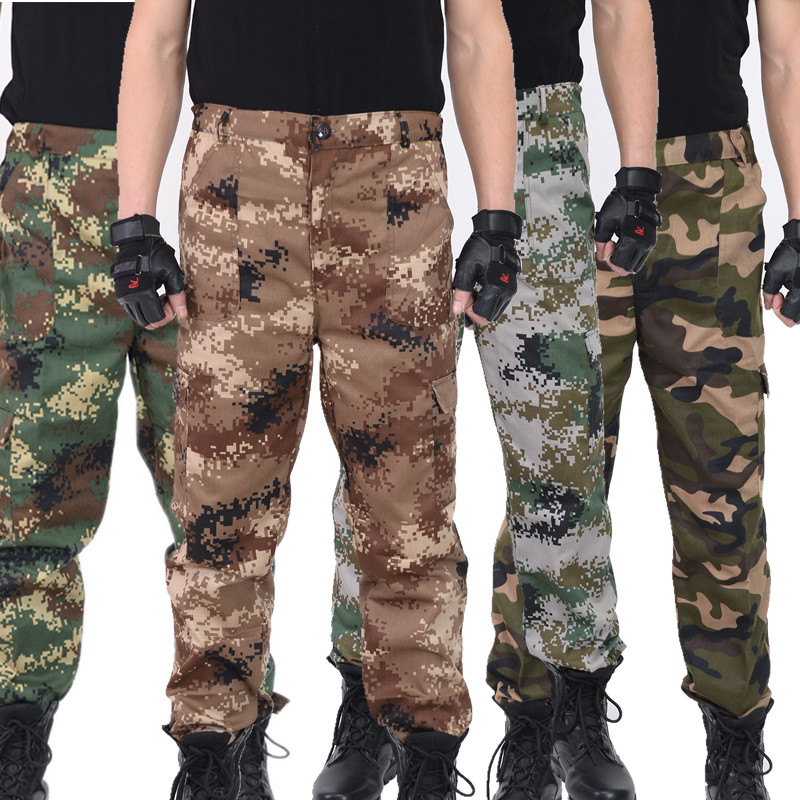Camouflage pants mens military fans overalls desert tactical military training pants machine repair labor protection pants loose straight tube as training pants