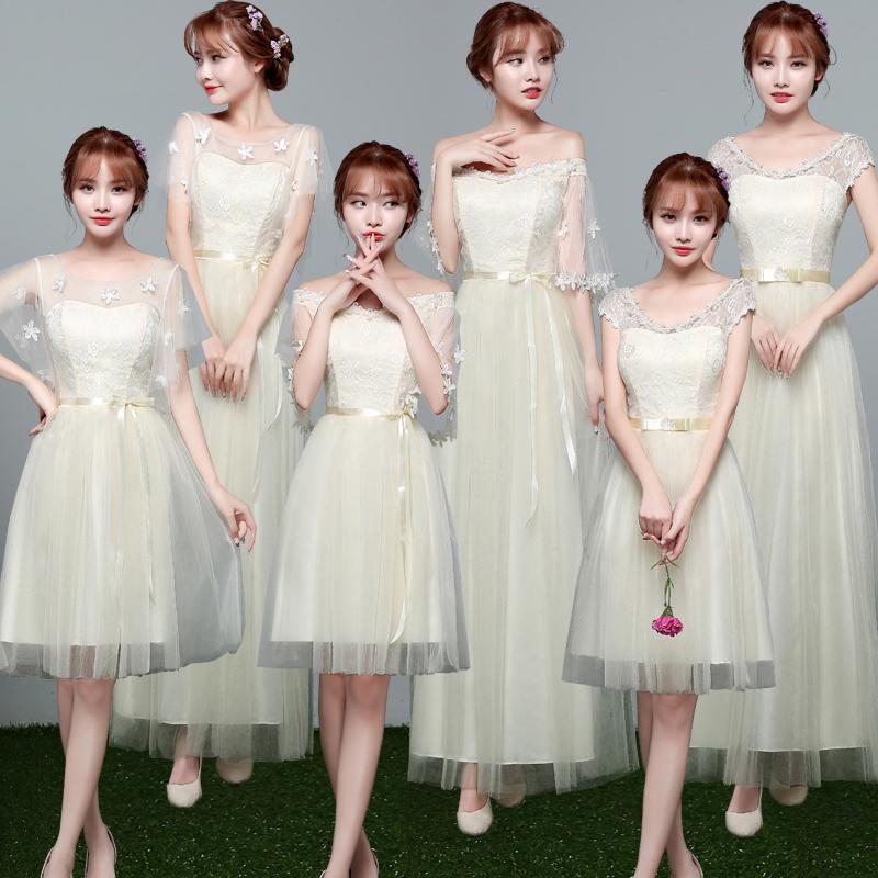 伴娘礼服女2018新款韩版姐妹团伴娘服长款灰色显瘦一字肩连衣裙短