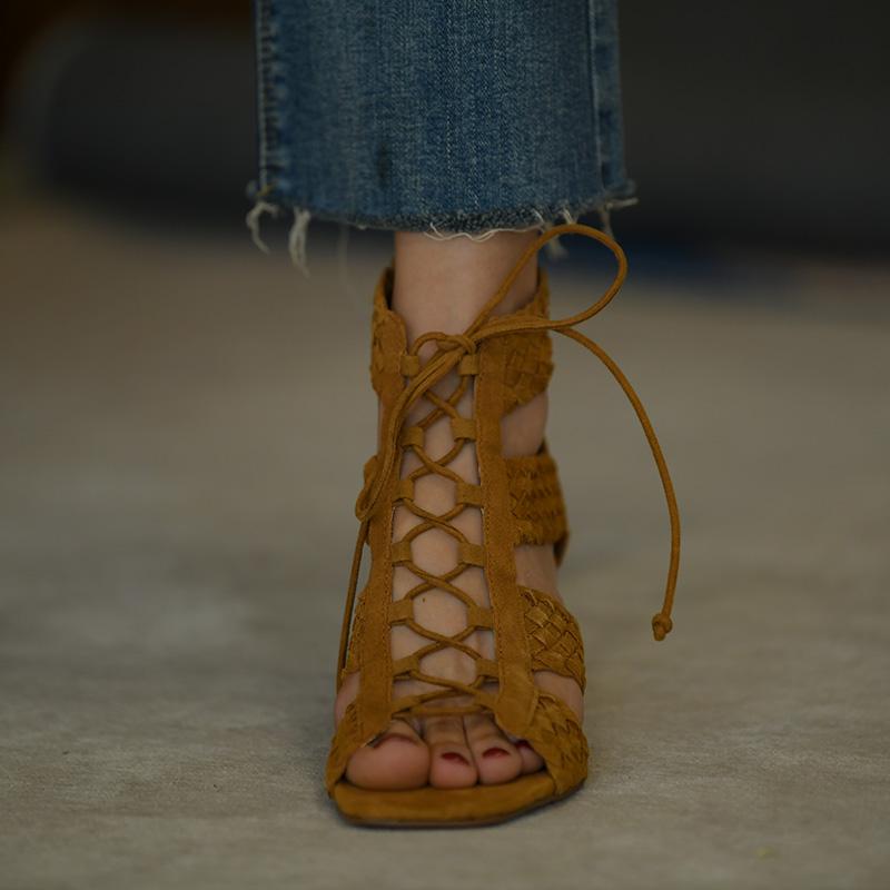 第一街罗马凉鞋女粗跟新款鱼嘴夏季系带女鞋中跟绑带高跟鞋凉靴潮