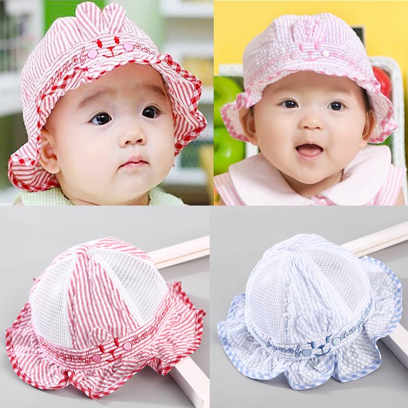 婴儿帽子夏季遮阳帽0-3-6个月男童薄款太阳帽女宝宝盆帽春夏