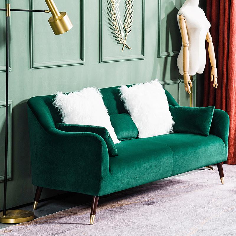 北欧小户型客厅双人沙发现代简约三人沙发椅美式轻奢复古绒布沙发买三送一