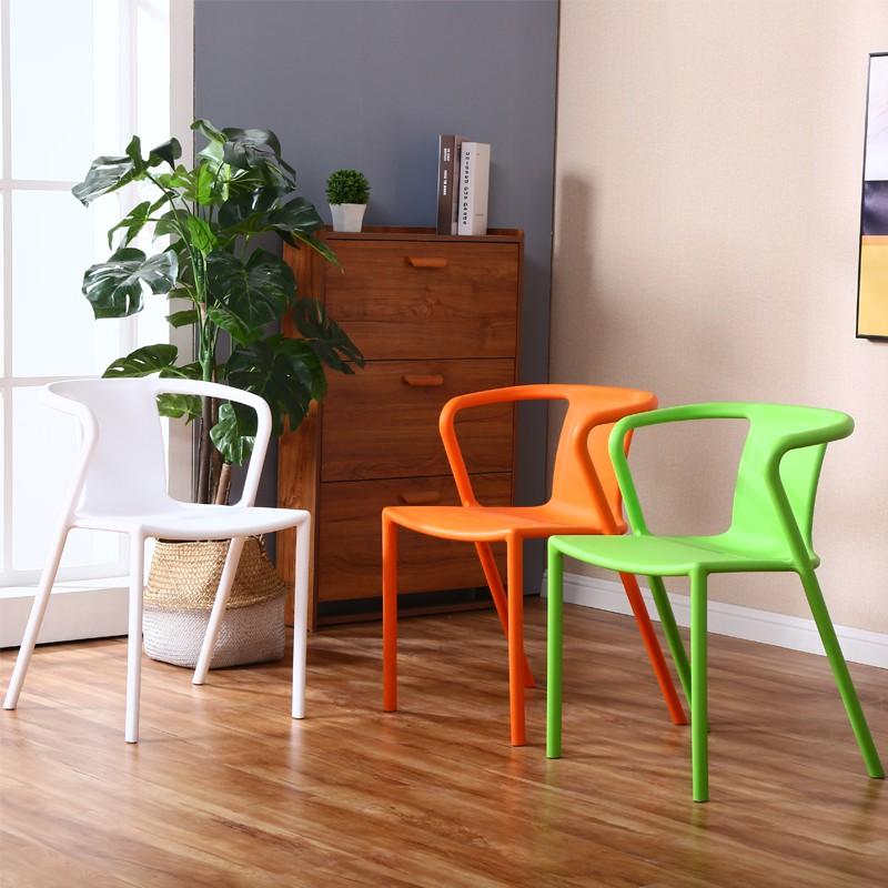 新中式塑料椅带扶手洽谈椅简约现代明式会客椅家用餐椅创意休闲椅