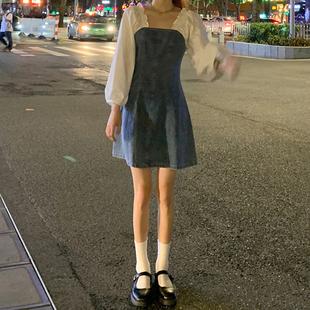 假两件方领牛仔裙2020新款秋季裙子气质A字裙显瘦收腰连衣裙女装