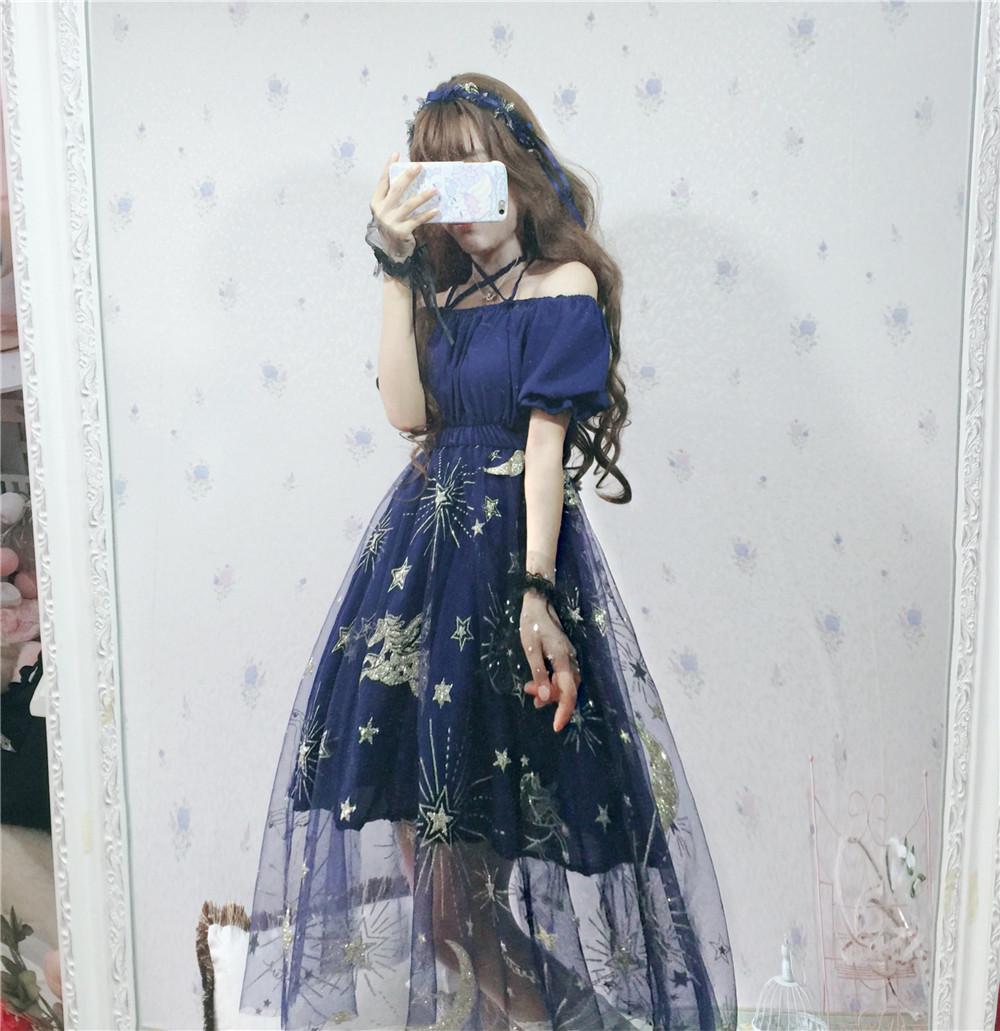 逗酱工作室正品原创【天马星空】网纱梦幻绑带一字领软妹连衣裙