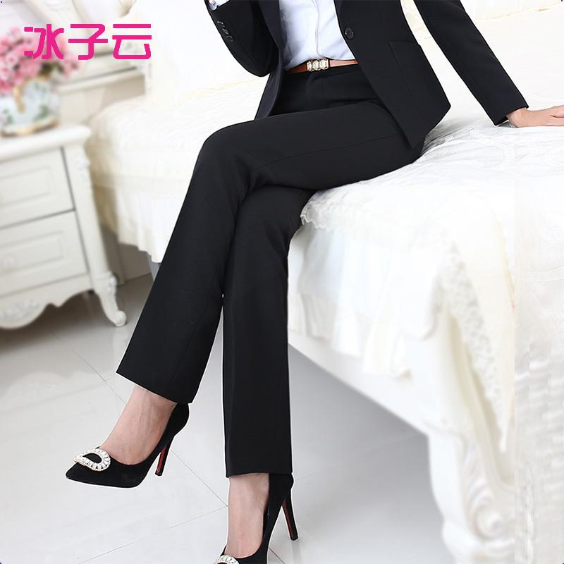 春夏新款西装裤裤子女裤职业裤工装裤女西裤黑色直筒裤工作裤正装