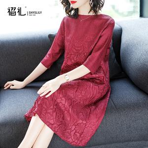 早秋新款连衣裙红色气质减龄宽松大码女装洋气中年妈妈装婚宴礼服