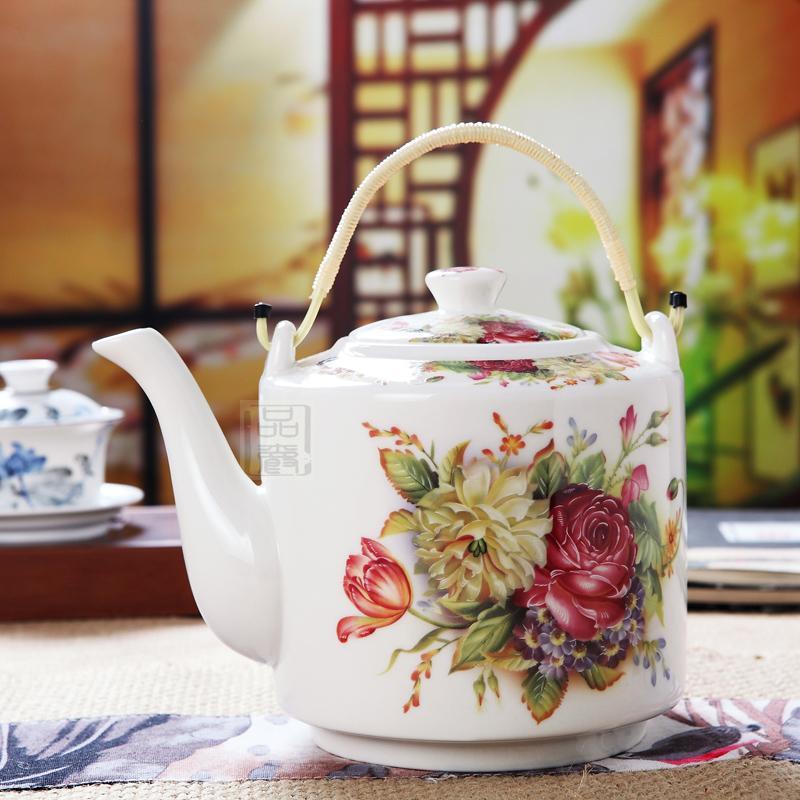 品爵景德鎮陶瓷茶壺大號容量熱水壺涼水壺家用提梁壺耐高溫陶瓷壺