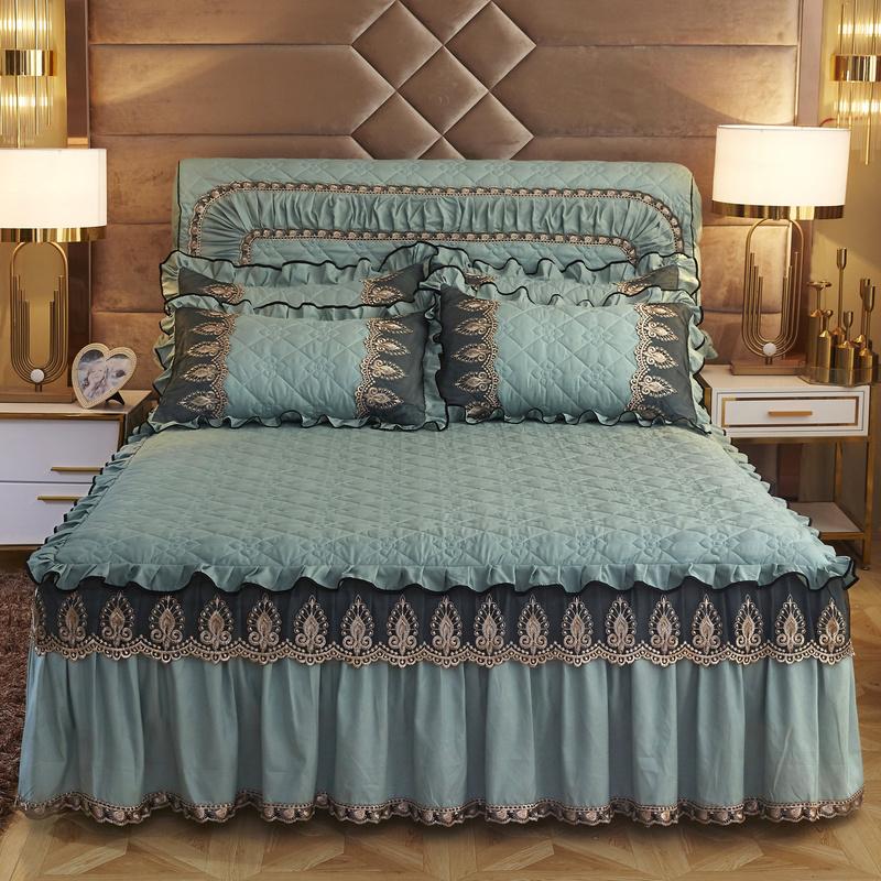 2m床罩加厚防滑床套防尘罩1.8m欧式网红款磨毛纯色夹棉床裙式单件