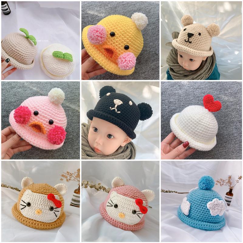 鉤針編織男女童秋冬寶寶嬰兒兒童毛線卷邊帽子嬰兒手工diy材料包