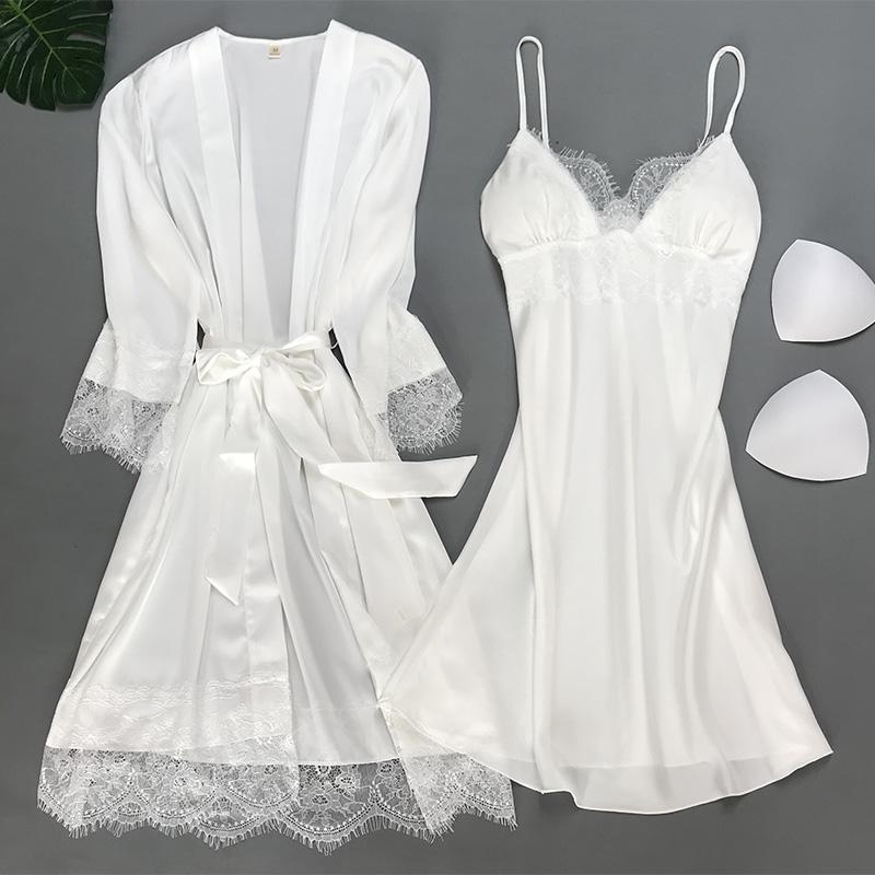 女士夏天睡衣带胸垫两件套性感蕾丝吊带睡裙春秋薄款白色冰丝套装
