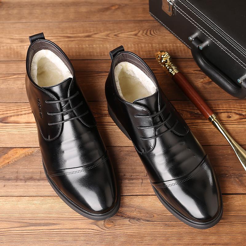 冬季棉鞋男士高帮鞋保暖高帮男鞋加绒商务正装皮鞋加厚爸爸鞋真皮