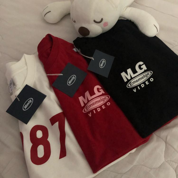 [REコンテナ]20年韩国87mm新款字母MLG印花红色简约情侣棉T恤短袖