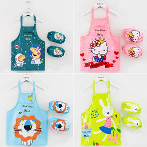 儿童围裙美术画画衣防水防脏厨房家用绘画罩衣卡通吃饭衣小孩带袖