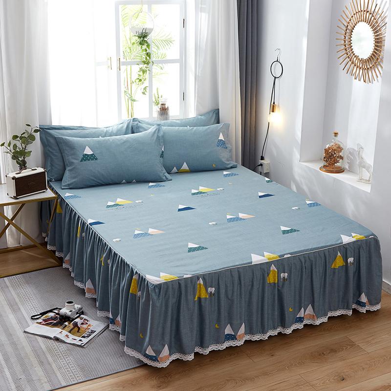 床罩床裙式纯棉防滑蕾丝定做单人1.5m/2.0米床保护套床裙单件%100