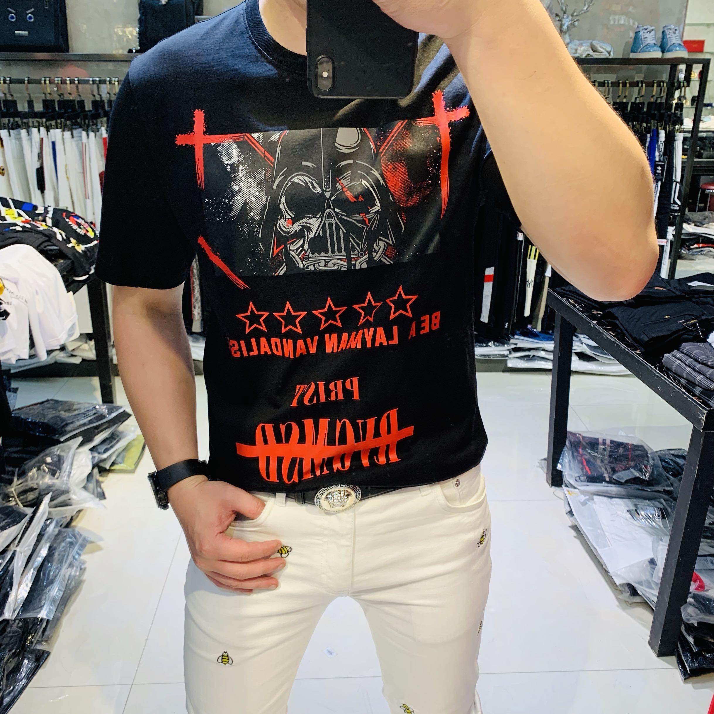 潮牌流行印花涂鸦圆领T恤男19新款个性抖音红人同款上衣帅气短袖