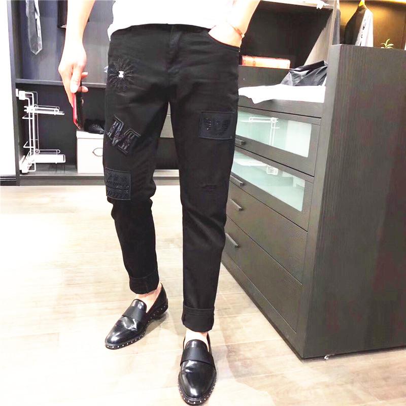 男士2018秋季新款欧洲站黑色水洗贴标牛仔裤快手红人同款时尚裤子