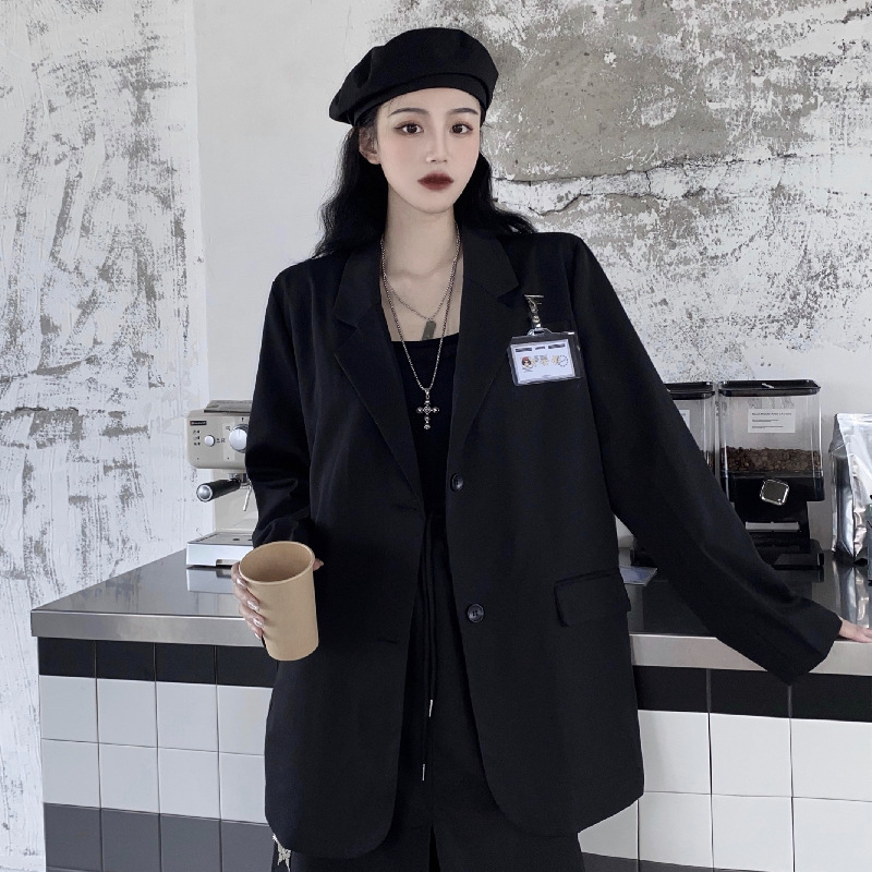 2021 other solid color single breasted new loose design feeling sweet cool temperament medium long sleeve suit coat for women
