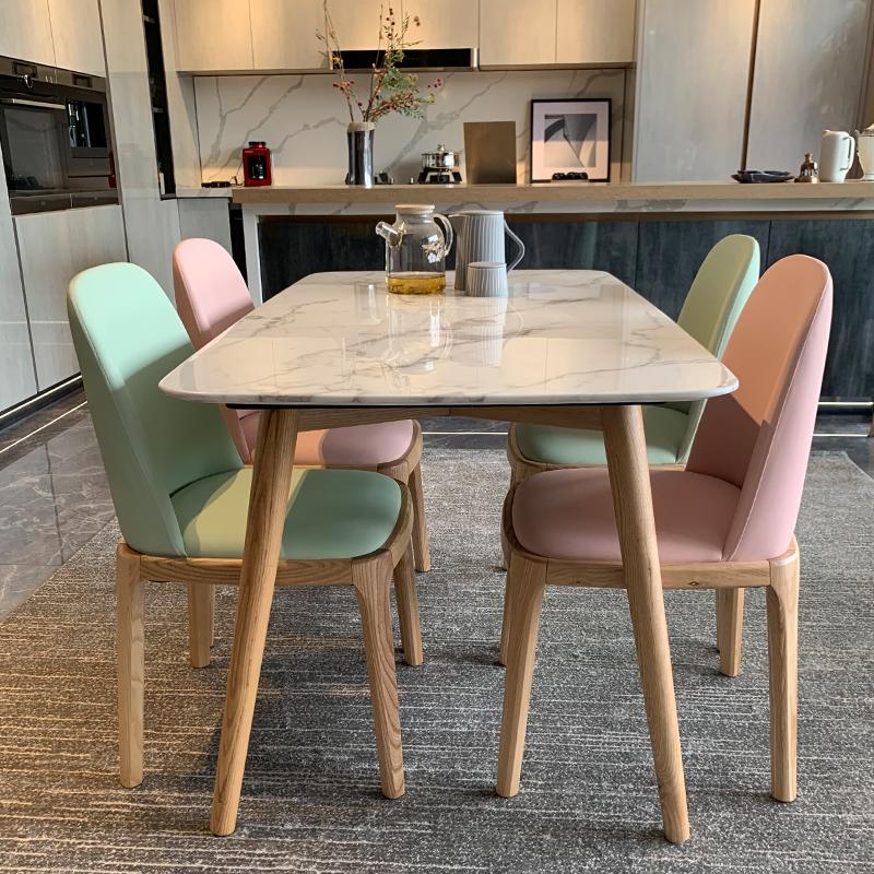 北欧大理石餐桌椅组合家用粉色原木风实木现代简约小户型岩板餐桌
