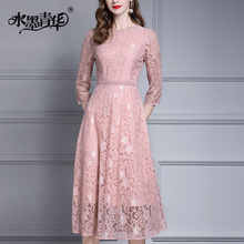 Ink and wash Qinghua Fall 2019 new elegant temperament lace dress fashion medium and long slim dress