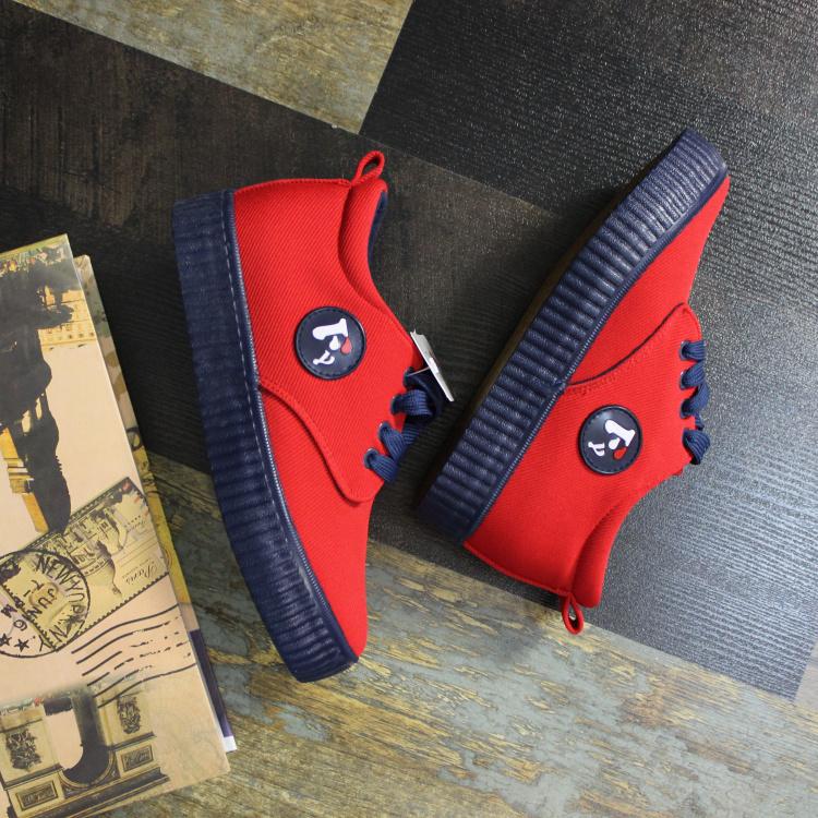 新款红色帆布鞋女厚底布鞋低帮增高休闲鞋百搭韩版系带学生板鞋