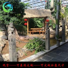 汉龙雕塑 天然青石石雕拴马庄 庭院装饰胡人戏狮摆件仿古做旧现货图片