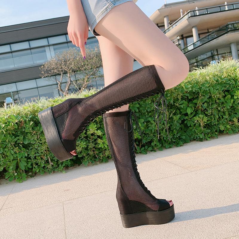 靴子新款女夏网红长靴透气显瘦凉靴厚底鱼嘴高筒网靴内增高松糕鞋
