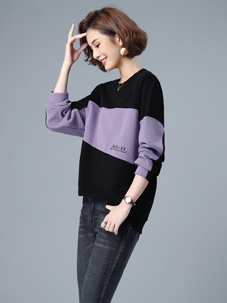 2021蝙蝠袖常规其他新款女装韩版宽松圆领套头卫衣拼接字母绣花 Изображение 1