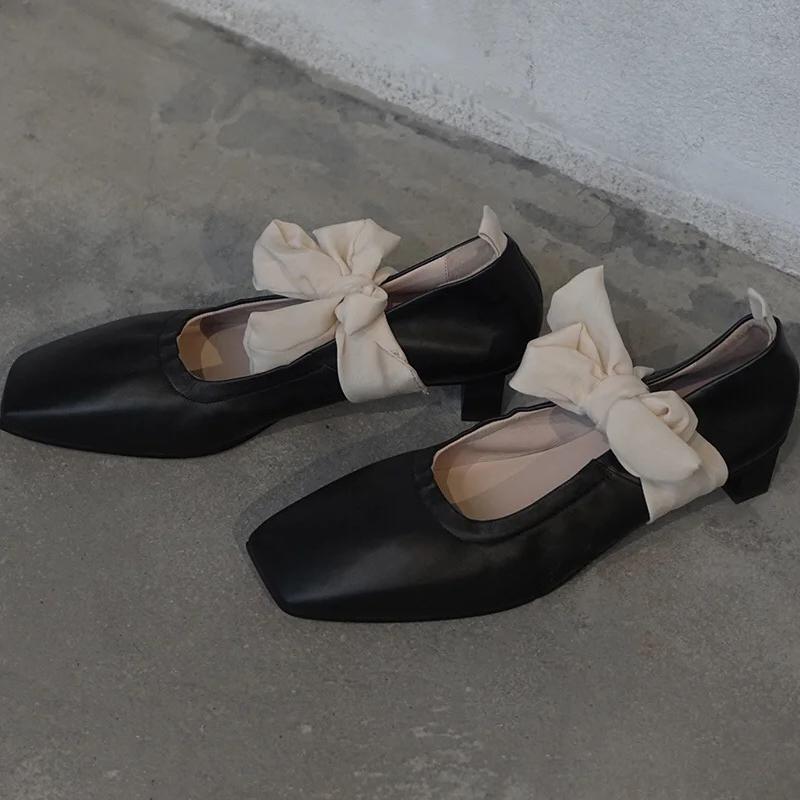 2020夏季新款黑色方头蝴蝶结丝带玛丽珍鞋女中跟单鞋百搭网红同款