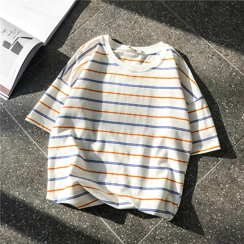 手慢无夏季2019新款男士短袖t恤条纹潮流宽松男生半袖体恤潮牌男装衣服