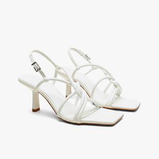 夏新款 仙女风细带露趾性感高跟鞋 ZARA 女 DTM一字扣带方头细跟凉鞋