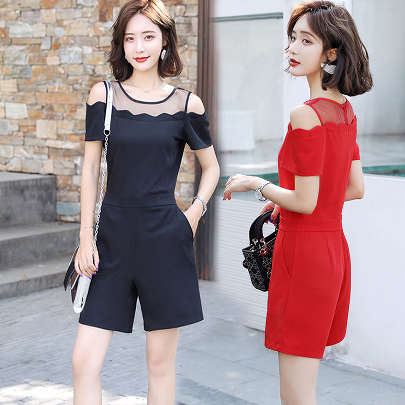 Solid color High Waist Wide Leg one-piece shorts womens summer new Korean Style Sexy off shoulder one line collar Jumpsuit