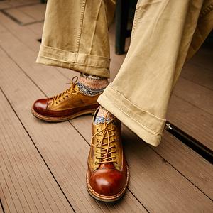 美式复古做旧英伦百搭真皮潮工装鞋