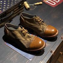 日系复古英伦风真皮低帮大头圆头休闲手工装马丁做旧皮鞋男女夏季