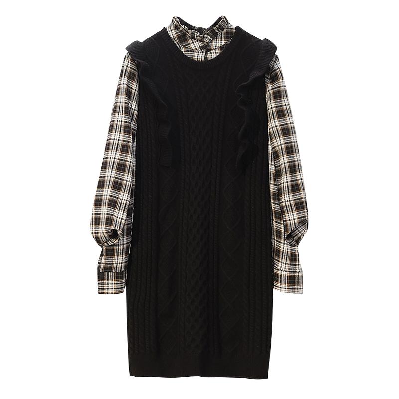 秋冬装2020年新款大码女装胖mm秋季连衣裙子衬衣毛衣马甲两件套装