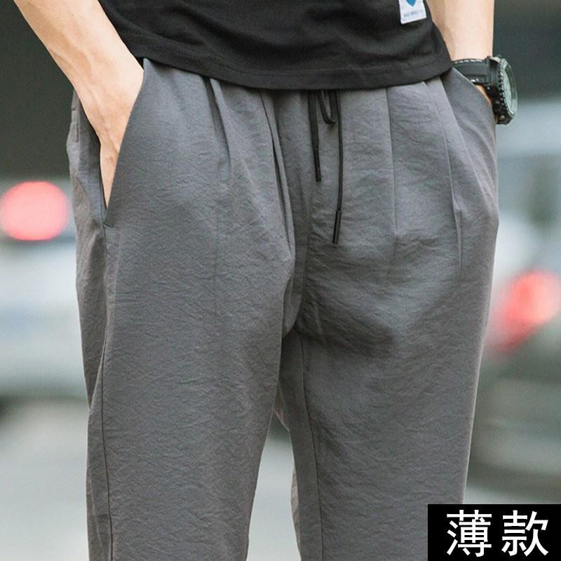 夏季宽松亚麻冰丝裤新款棉麻超薄款松紧腰休闲裤男士直筒中年男裤