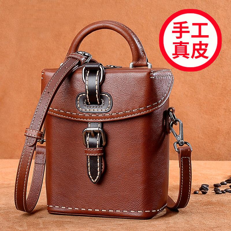 Simple retro womens bag small bag square bag original handmade cowhide Bag Handbag Shoulder Bag versatile bag mail