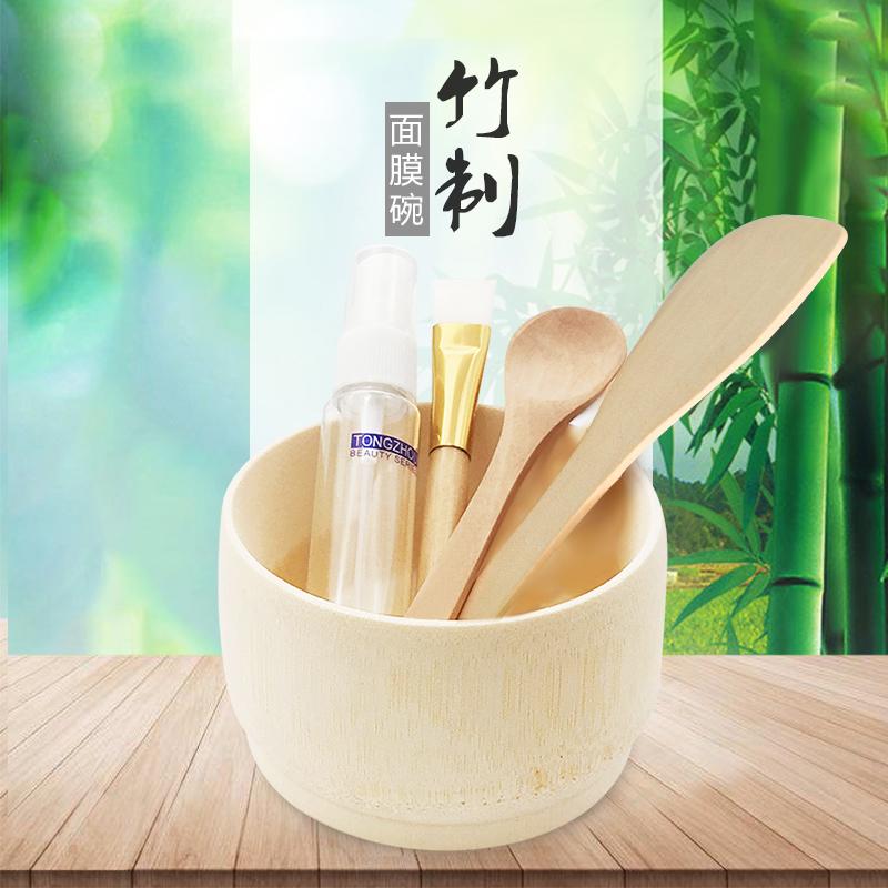 面膜碗美容院专用2件套装竹制刮刀勺和刷子水疗家用搅拌棒DIY工具图片
