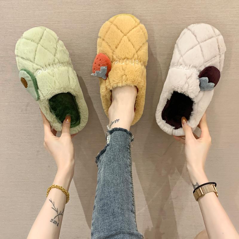 棉拖鞋女秋冬家用可爱月子防滑保暖