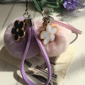 韩国创意獭兔毛球手机挂件相机U盘包包挂饰可爱毛绒球花朵皮绳款