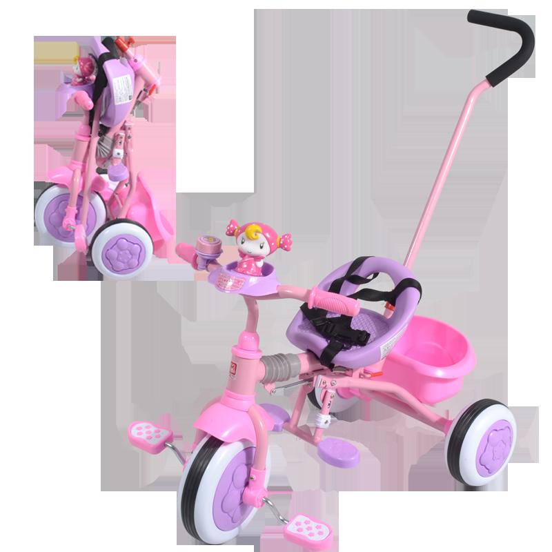 兒童三輪車折疊手推腳踏車輕便可折疊帶推杆嬰兒三輪腳踏車帶後筐