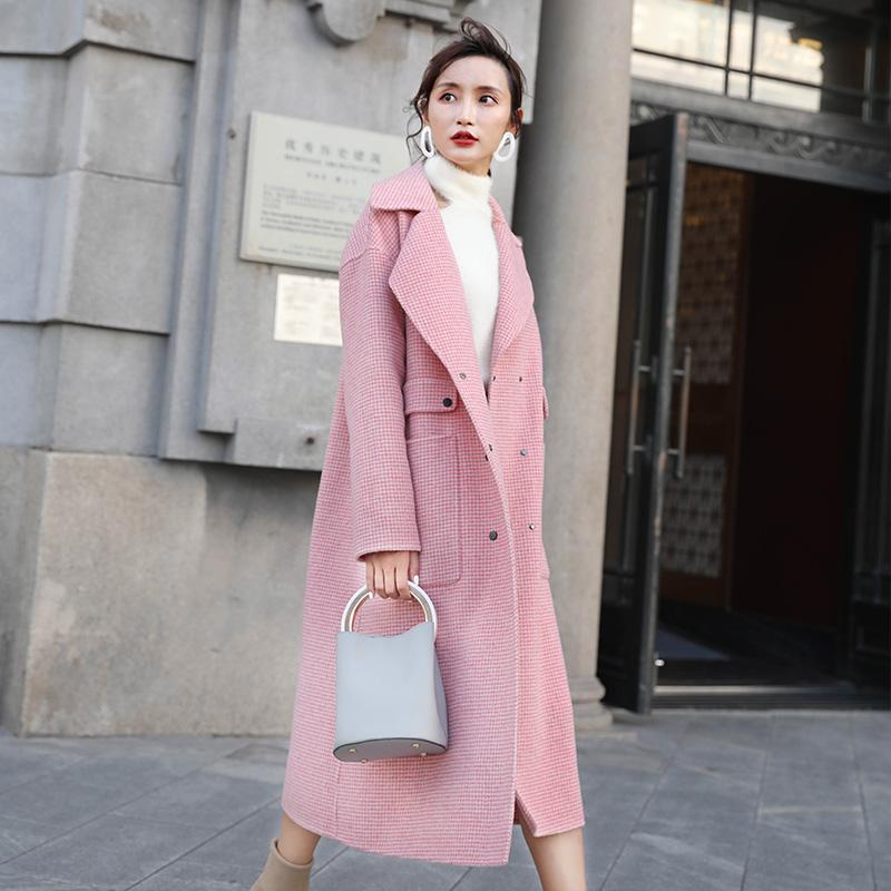 双面羊绒大衣女中长款春秋流行格子粉色呢子加厚毛呢外套