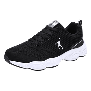 乔丹格兰运动鞋男透气跑步鞋生活休闲慢跑鞋黑色减震舒适旅游鞋男
