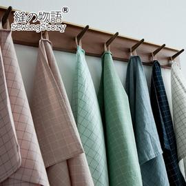 缝物语日式简约格子水洗棉布艺餐巾餐布餐垫便当布美食拍照简约格图片