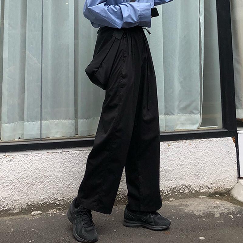 秋季韩版高腰垂感运动休闲宽松bf黑色直筒工装阔腿裤女学生裤子潮(用10.01元券)